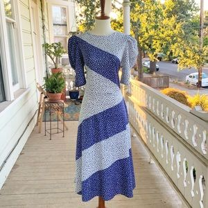 Vintage 80's Does 40's Polka Dot Midi Dress